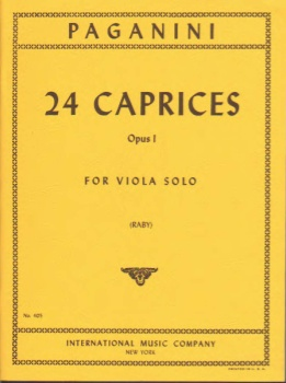 Paganini N: 24 Caprices, Op1, for Viola Solo