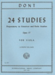 Dont - 24 Studies, Op 37, Preparatory to Kreutzer and Rode Studies, for Viola