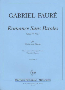 Romance Sans Paroles, Op 17, No. 1, for Violin and Piano